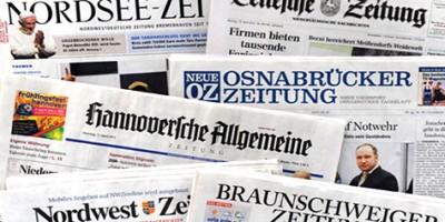 ILLUSTRATION - Niedersächsische Tageszeitungen, fotografiert am Dienstag (17.04.2012) in Hannover. Die niedersächsischen Verleger beschäftigen sich am Mittwoch (18.04.2012) in Hannover mit aktuellen Entwicklungen in der Zeitungslandschaft. Bei der Jahresversammlung des Verbandes Nordwestdeutscher Zeitungsverlage (VNZV) soll über die derzeitige Lage der Tageszeitungen im Land berichtet werden. Der VNZV vertritt 47 Zeitungstitel mit einer verkauften Auflage von knapp 1,4 Millionen Exemplaren. Foto: Holger Hollemann dpa/lni  +++(c) dpa - Bildfunk+++